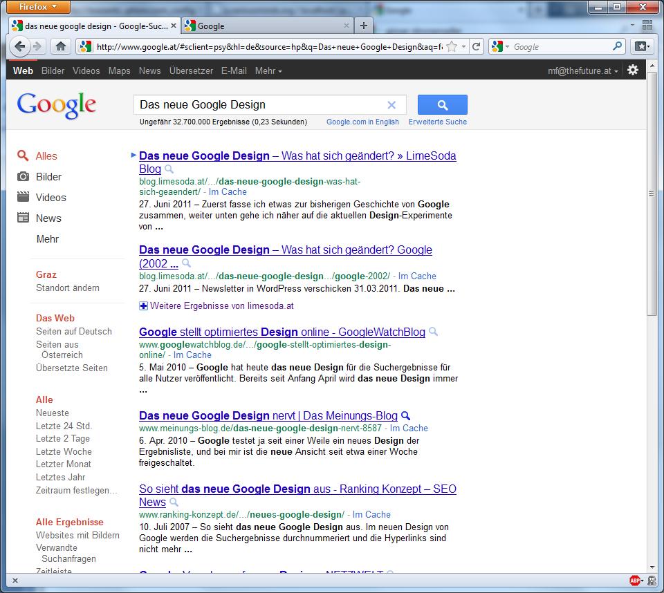 Google Design - schwarze Leiste